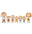 happy family with many children vector image