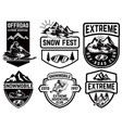 set of snowmobile emblems isolated on white vector image