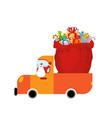 truck santa and red sack of gifts christmas car vector image