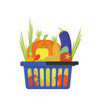 vegetable shop basket flat style vector image