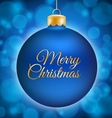 Blue Christmas ball with Merry Christmas title vector image vector image