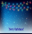 Abstract background with Christmas lights on blue vector image