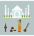 India landmark travel icons collection vector image