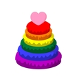 Rainbow pyramid with heart cartoon icon vector image