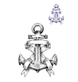 Vintage heraldic sketched anchor with ribbons vector image