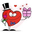 Heart Holding A Single Rose And A Gift vector image vector image