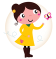 Retro spring cute yellow Girl with butterfly vector image