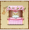 Wedding table decorated with pink tablecloth vector image