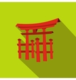 Floating Torii gate Japan icon flat style vector image