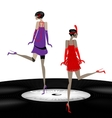 two abstract girls dancing vector image