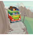 Couple in a hippie bus rides on the mountain vector image