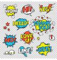hi yes thank you hello wow love u no like bye vector image
