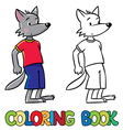 Little funny wolf Coloring book vector image