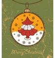 Retro greeting card with glass ball and Christmas vector image