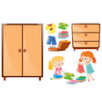 set of girls folding clothes and closets vector image