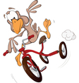 Sparrow on a tricycle Cartoon vector image