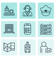 set of 9 airport icons includes airfield vector image