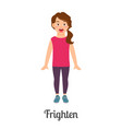 cartoon little frighten girl vector image