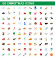 100 christmas icons set cartoon style vector image