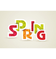 Spring word plain and pure design vector image vector image