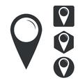 Map marker icon set monochrome vector image