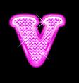 V letter pink bling girly vector image vector image