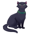 Black cat with green eyes sitting vector image