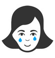 crying woman face flat icon vector image