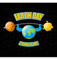 Earth Day Powerful planet and sport barbell vector image