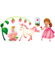 Fairytales set with princess and unicorn vector image