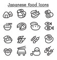 japanese food icon set in thin line style vector image