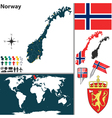 Norway map world vector image