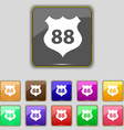 Route 88 highway icon sign Set with eleven colored vector image