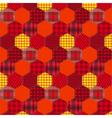 Seamless pattern patchwork orange fabrics hexagon vector image