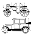 set of silhouettes of old cars vector image