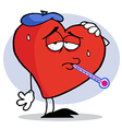 Red Heart With A Thermometer In His Mouth vector image vector image