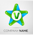 Letter v logo symbol in the colorful star on grey vector image