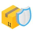 Cardboard box with protection shield vector image