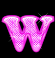 W letter pink bling girly vector image vector image