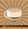 the coffee cup on a brown background vector image