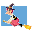 Funny Halloween Witch on a Broomstick vector image vector image