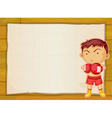 paper and boxer boy vector image vector image