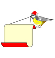 A Christmas bird titmouse with a big blank paper vector image