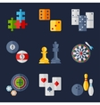 Set of game icons in flat design style vector image vector image