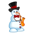 Snowman wearing a hat and bow ties play saxophone vector image