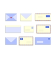 Snail mail letters envelopes flat style set vector image
