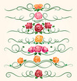 decorative flourish rose flower dividers vector image