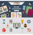 Online education flat concept background banner vector image