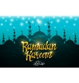 Ramadan kareem with silhouette mosque vector image