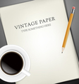 Sheets of paper pecin and cup of coffee vector image